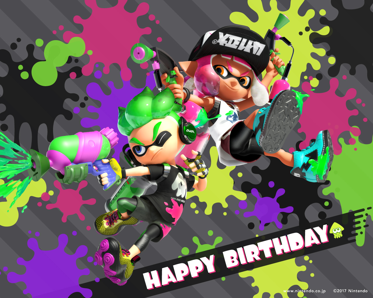 happy birthday day wallpaper ; 2017_birth_Splatoon_1280_1024