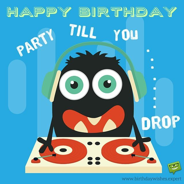 happy birthday dj ; Funny-Happy-Birthday-Image-with-cute-monster-being-a-dj