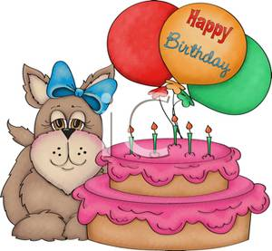 happy birthday dog clipart ; A_dog_with_a_bow_in_its_fur_standing_next_to_a_birthday_cake_101014-229771-490009