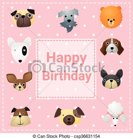 happy birthday dog clipart ; cute-happy-birthday-card-with-funny-dogs-clipart-vector_csp36631154