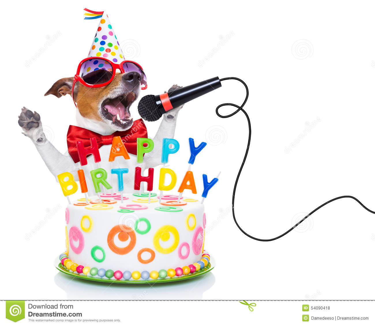 happy birthday dog clipart ; happy-birthday-dog-jack-russell-as-surprise-singing-song-like-karaoke-microphone-behind-funny-cake-wearing-red-tie-54090418