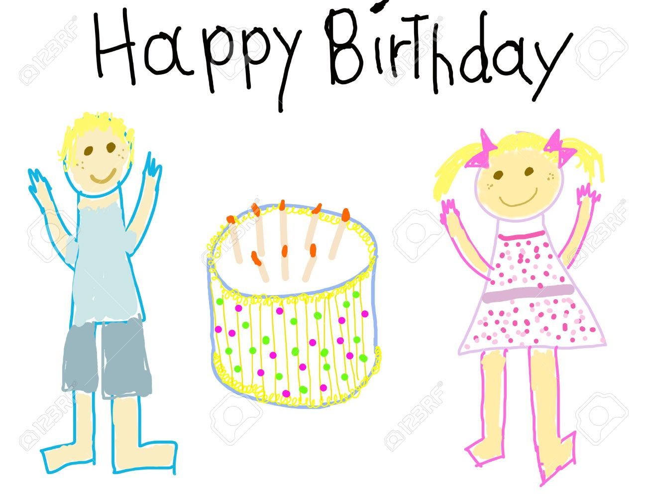 happy birthday drawing for kids ; 3209147-child-like-drawing-of-a-boy-girl-with-happy-birthday