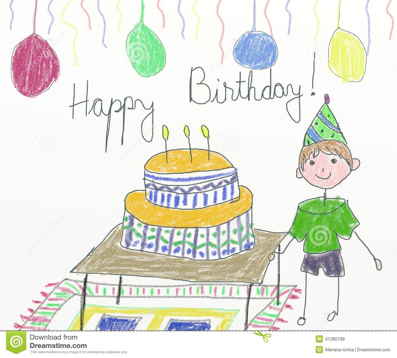 happy birthday drawing for kids ; happy-birthday-card-children-drawing-41280168