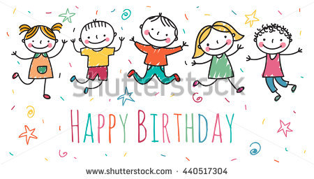happy birthday drawing for kids ; stock-vector-happy-birthday-illustration-in-kids-drawing-style-440517304