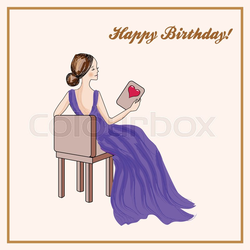 happy birthday dress ; 26578828-happy-birthday-card-with-seated-woman-in-purple-dress