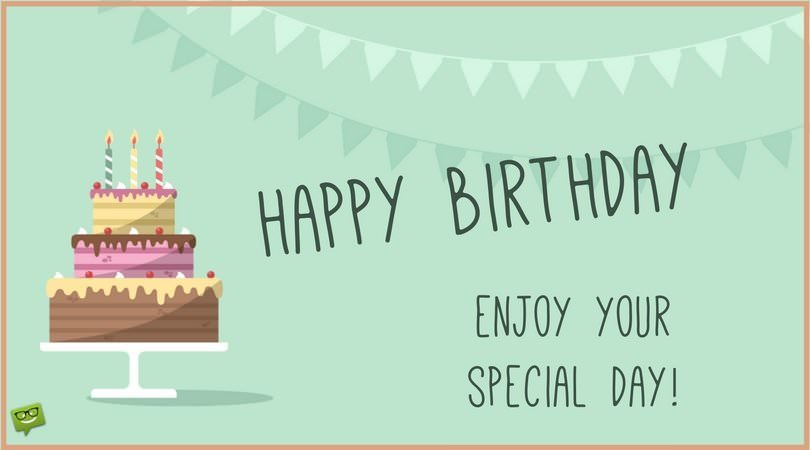 happy birthday enjoy your day ; Happy-Birthday-card-with-cake-and-garlands-and-a-wish-for-the-special-day