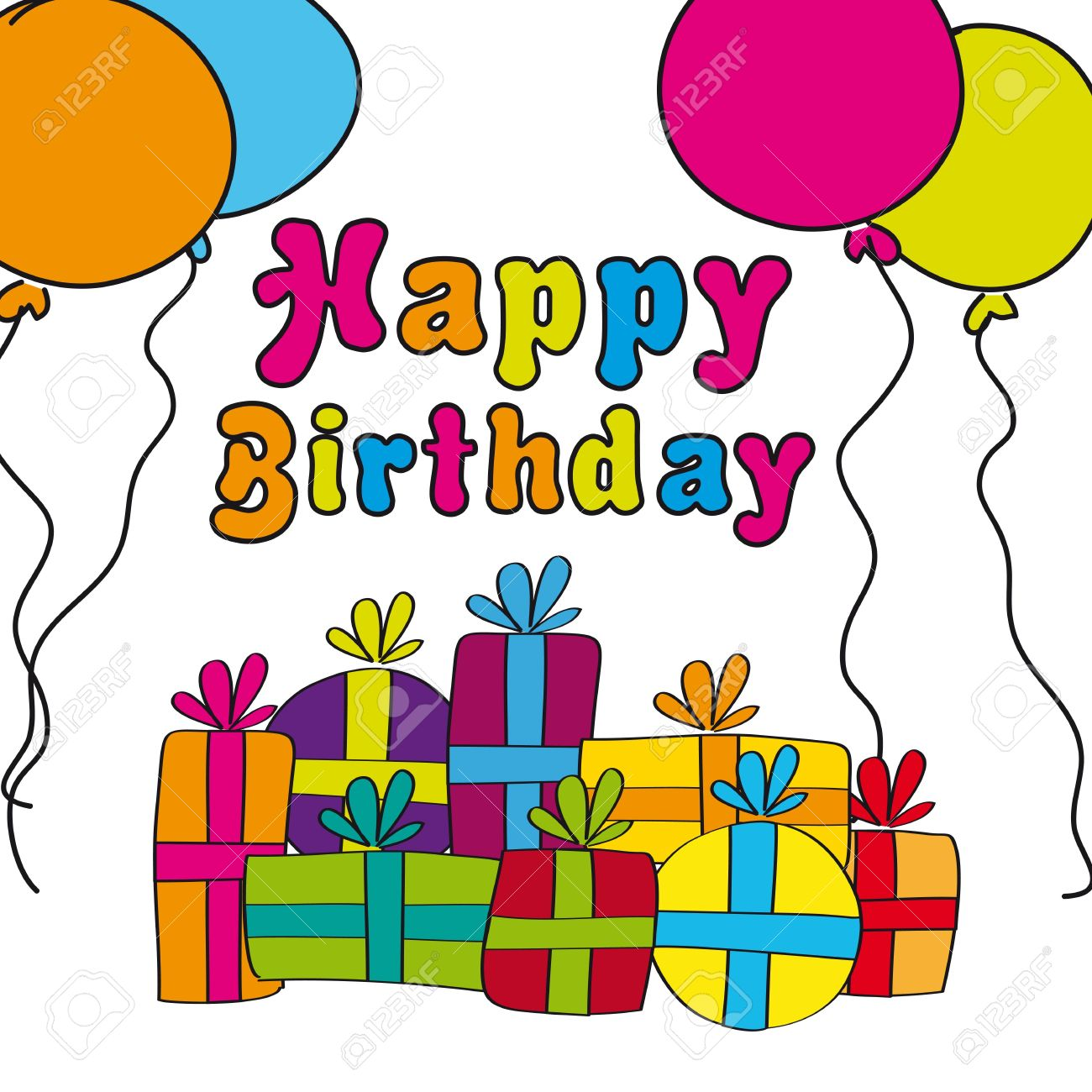 happy birthday gift drawing ; 13105899-happy-birthday-with-gifts-and-balloons-hand-drawing-vector