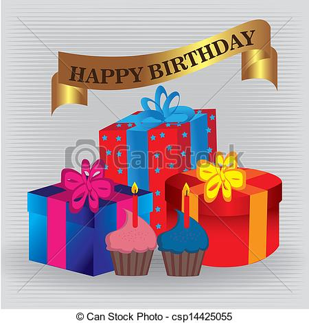 happy birthday gift drawing ; happy-birthday-gifts-clipart-vector_csp14425055