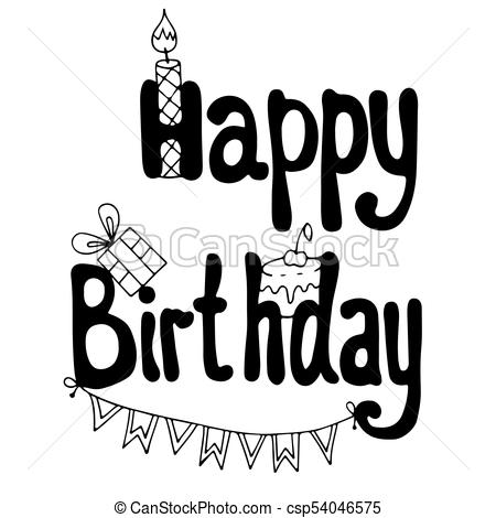 happy birthday gift drawing ; happy-birthday-lettering-with-cake-gift-image_csp54046575