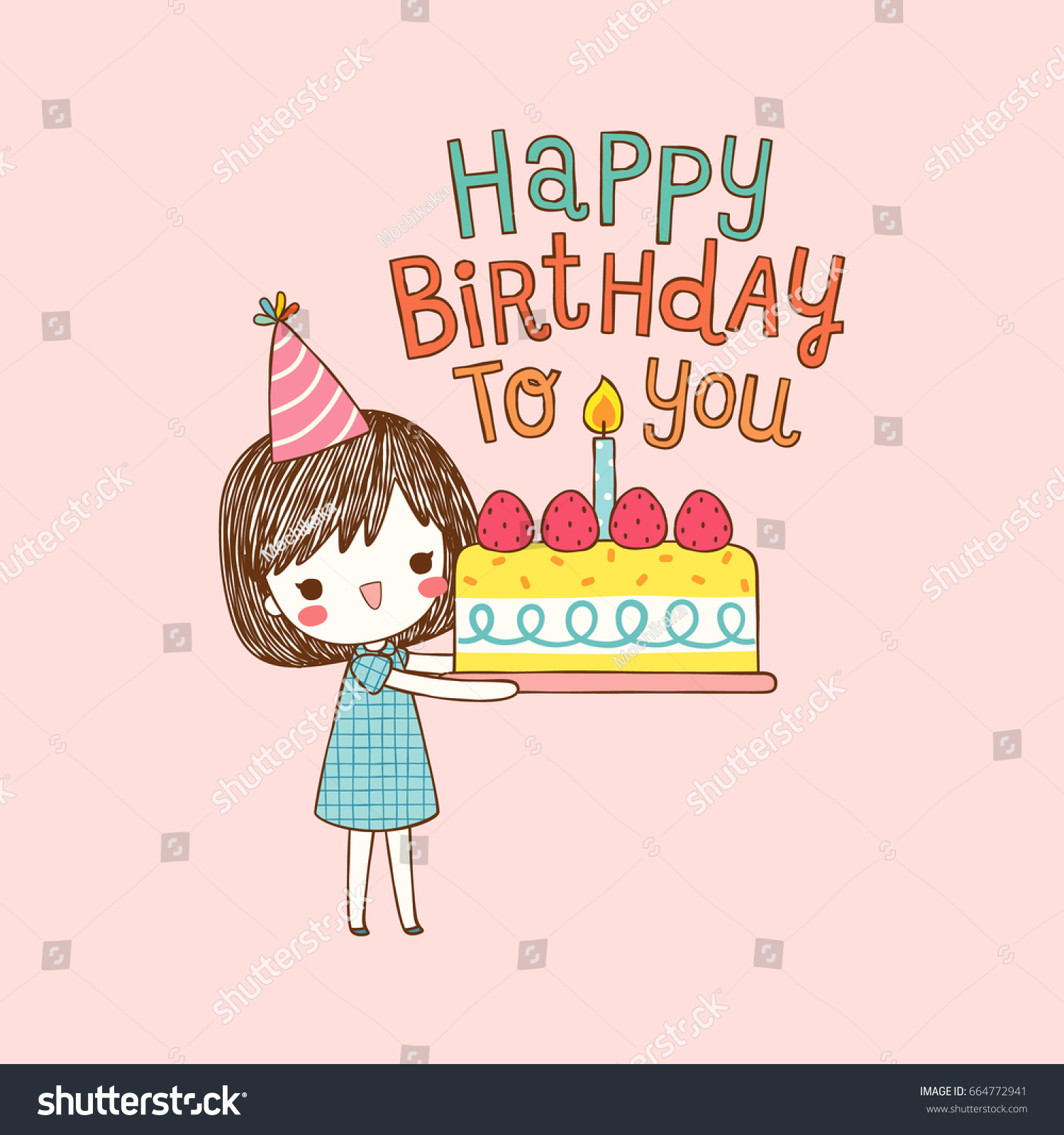 happy birthday girl ; stock-vector-happy-birthday-card-cute-girl-holding-a-large-cake-with-text-happy-birthday-to-you-flat-design-664772941