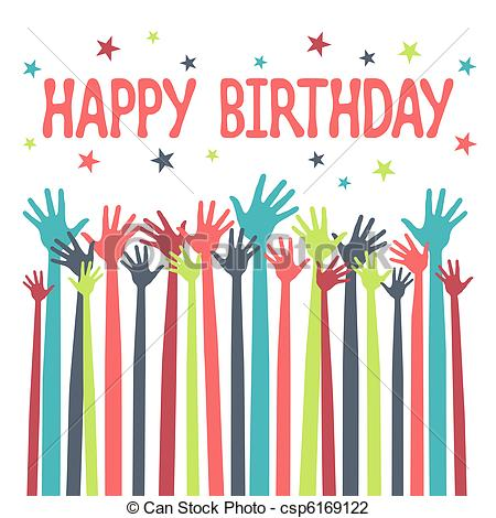 happy birthday graphics ; happy-birthday-hands-design-illustration_csp6169122