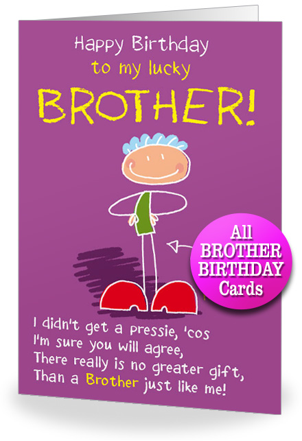 happy birthday greetings card for brother ; BROTHER