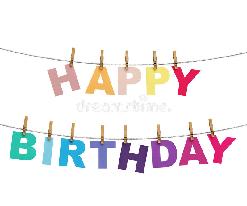 happy birthday hanging sign ; happy-birthday-colorful-letters-hanging-rope-clothespins-isolated-white-background-46995022