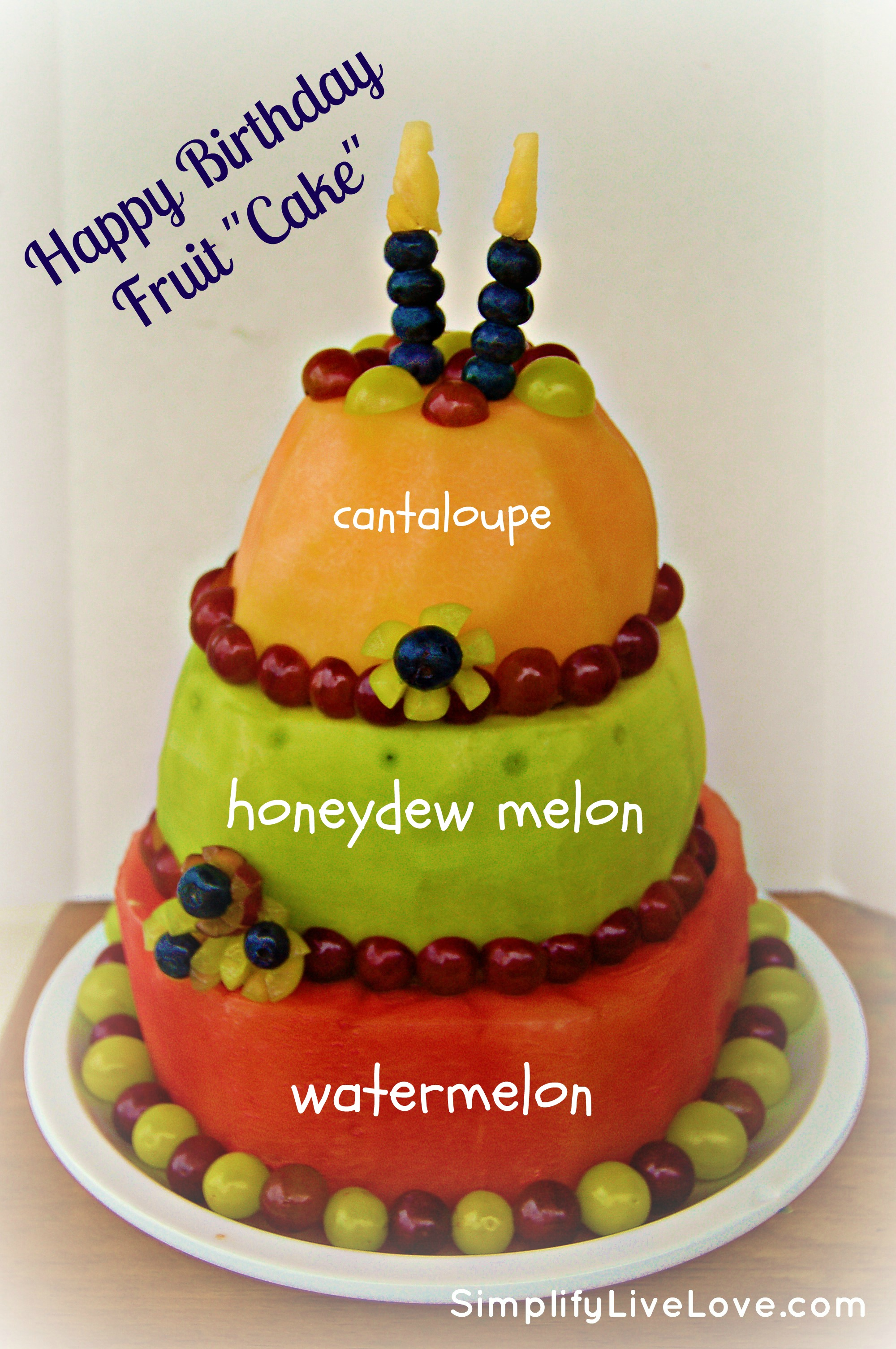 happy birthday healthy ; fruit-cake-2layers