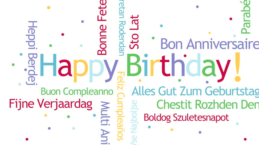 happy birthday in different languages ; 1