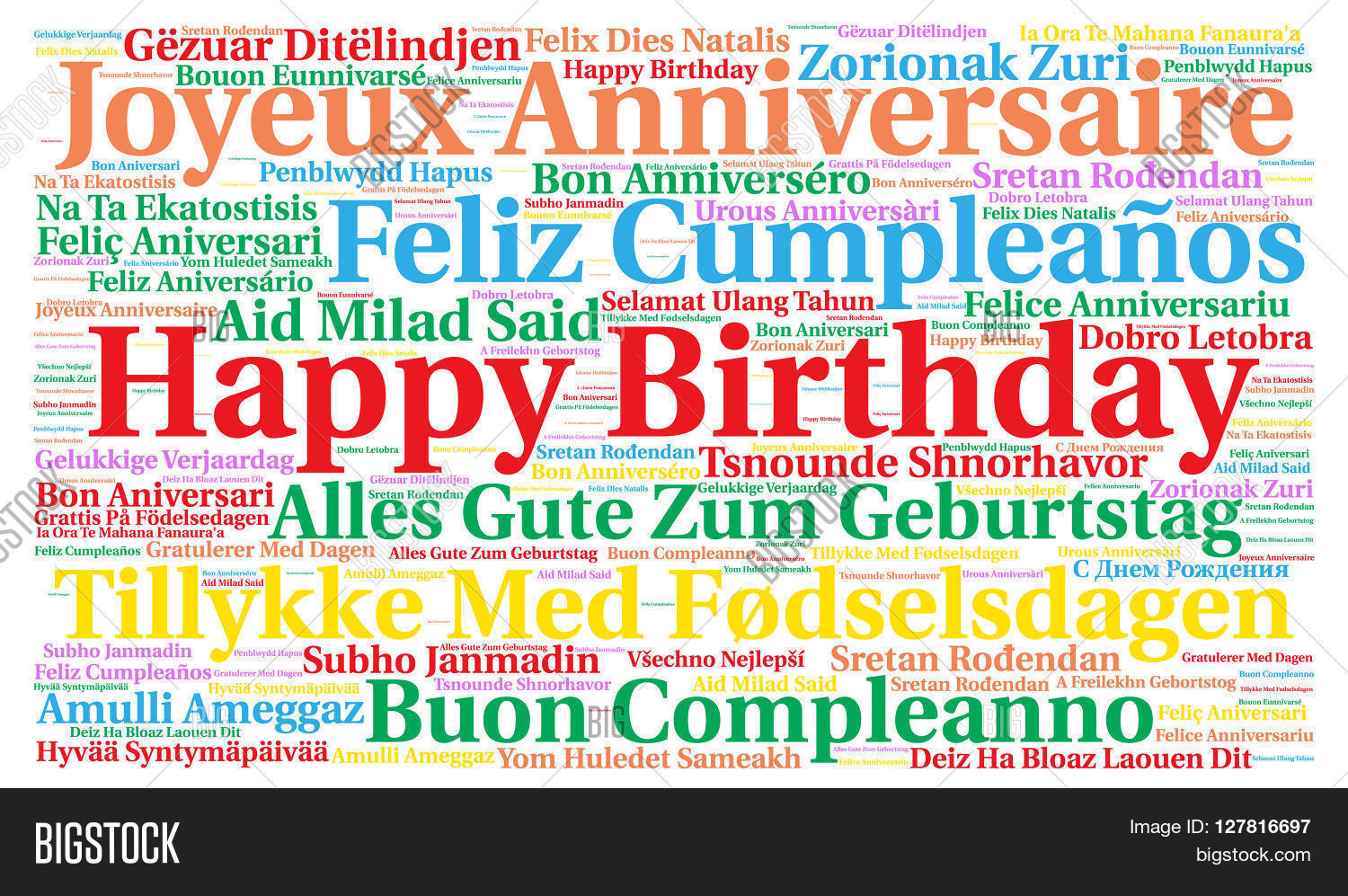 happy birthday in different languages ; 127816697