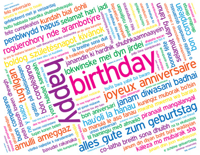 happy birthday in different languages ; Birthday-word-cloud