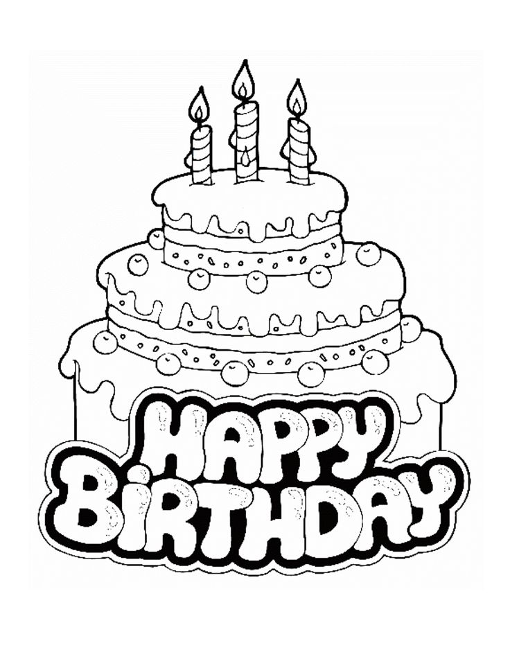 happy birthday line drawing ; birthday-cake-line-drawing-37
