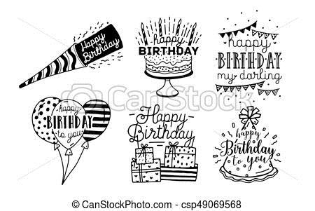 happy birthday line drawing ; cute-happy-birthday-greetings-clip-art-vector_csp49069568