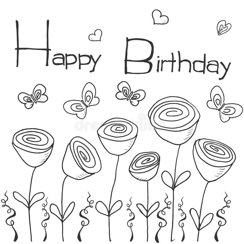 happy birthday line drawing ; hand-drawn-party-background-flowers-butterflies-hearts-hand-writen-lettering-text-happy-birthday-isolated-white-58163448
