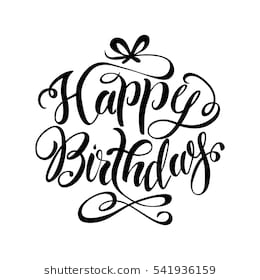 happy birthday line drawing ; happy-birthday-lettering-hand-drawnvector-260nw-541936159