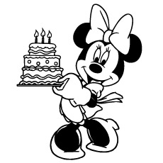 happy birthday line drawing ; mickey-mouse-with-happy-birthday-cake