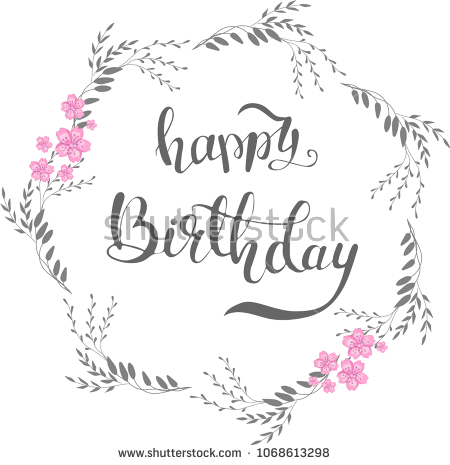 happy birthday line drawing ; stock-vector--happy-birthday-card-poster-background-template-a-hand-drawn-floral-wreath-with-gouache-flowers-1068613298