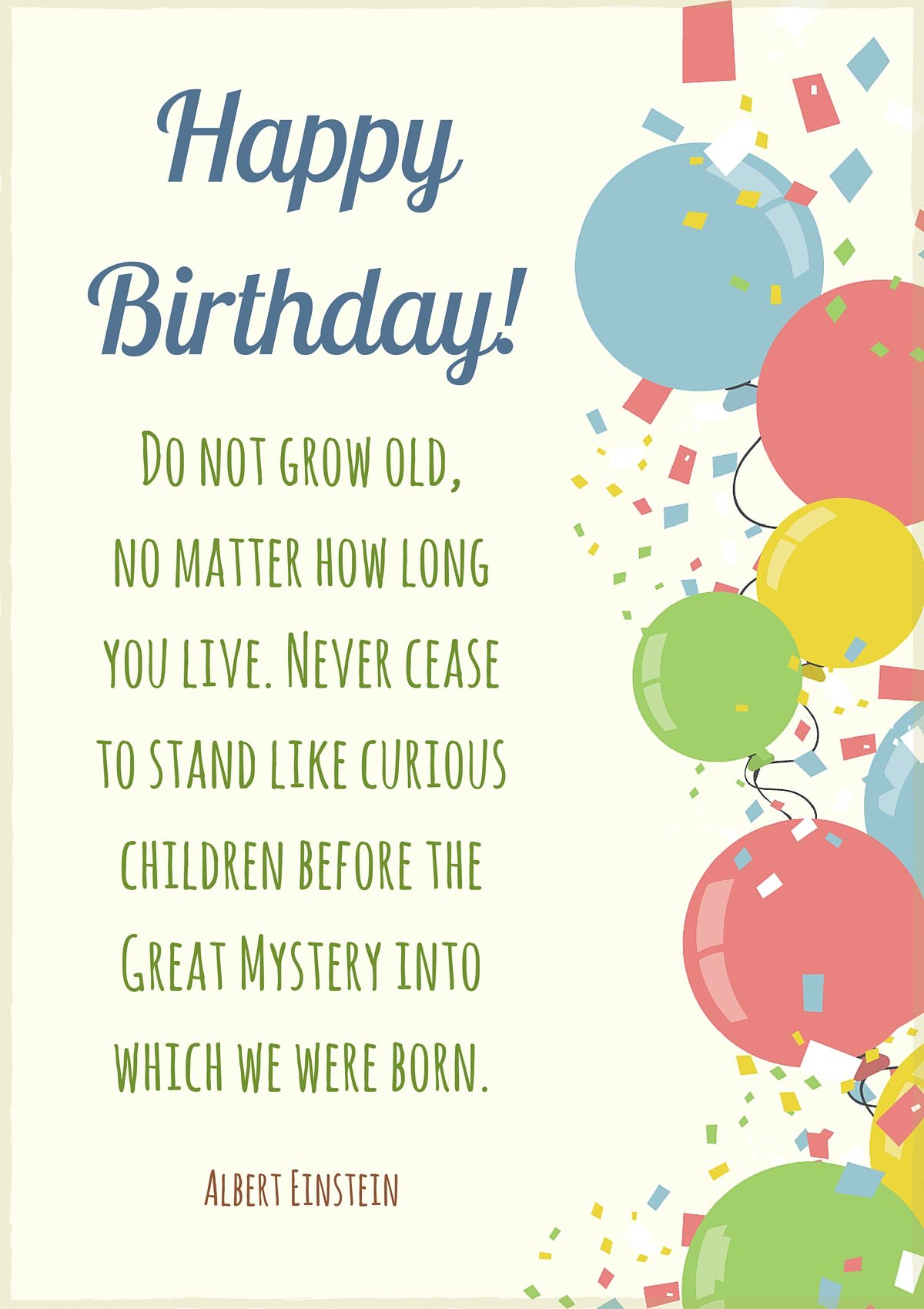 happy birthday long quotes ; Happy-Birthday-Quote-by-Albert-Einstein-on-card-with-balloons