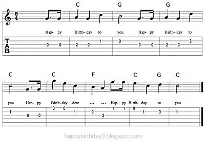 happy birthday lyrics and chords ; 7