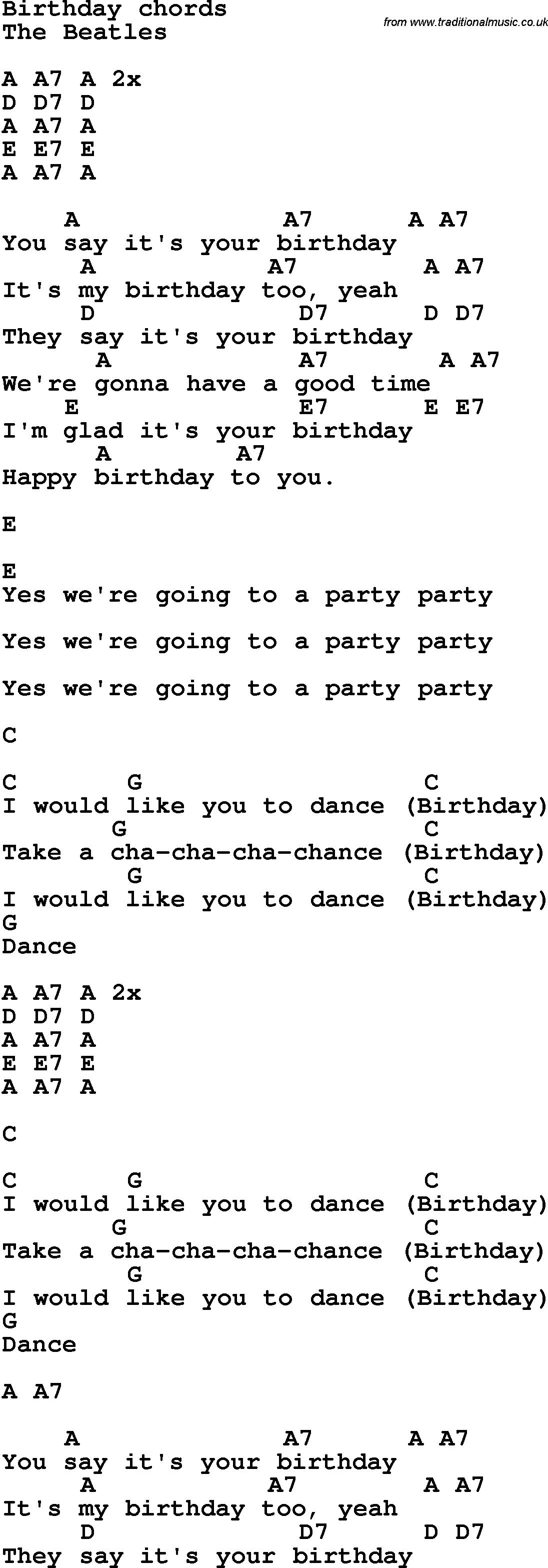 happy birthday lyrics and chords ; Birthday-The_Beatles