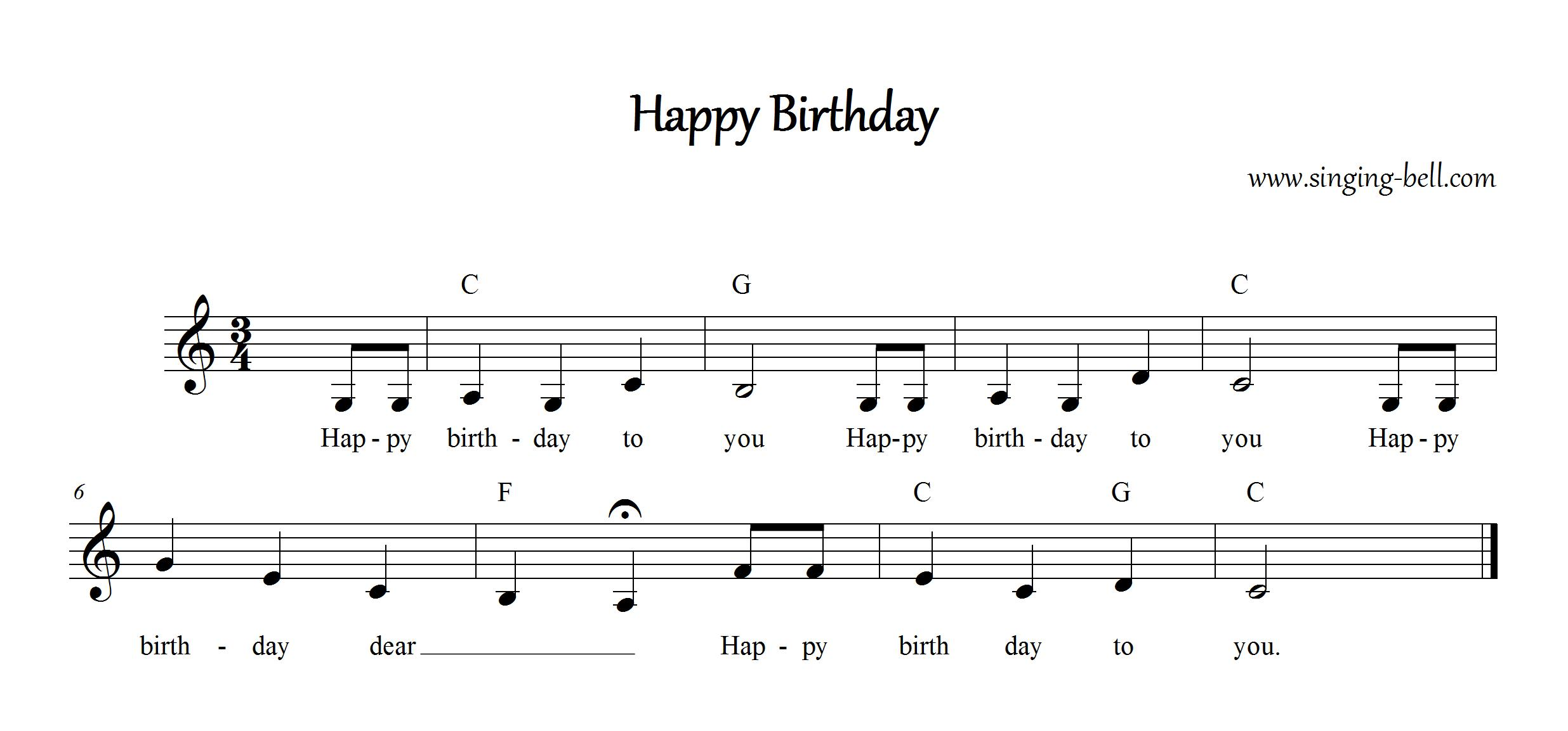 happy birthday lyrics and chords ; Happy-Birthday_C_Singing-Bell