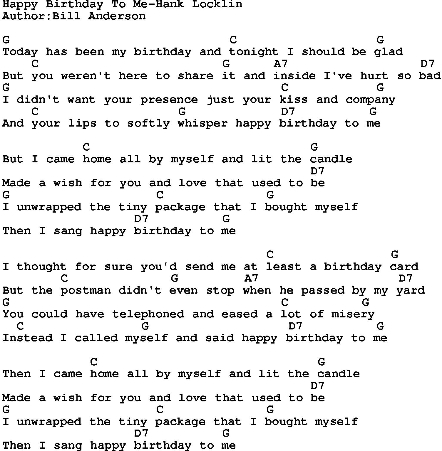 happy birthday lyrics and chords ; happy_birthday_to_me-hank_locklin