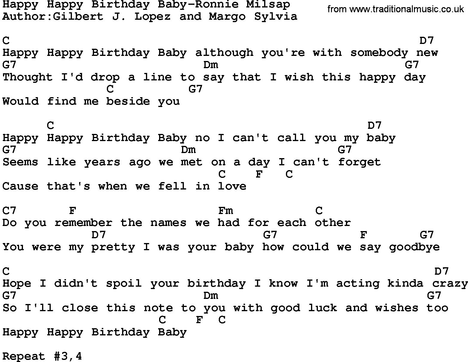 happy birthday lyrics and chords ; happy_happy_birthday_baby-ronnie_milsap