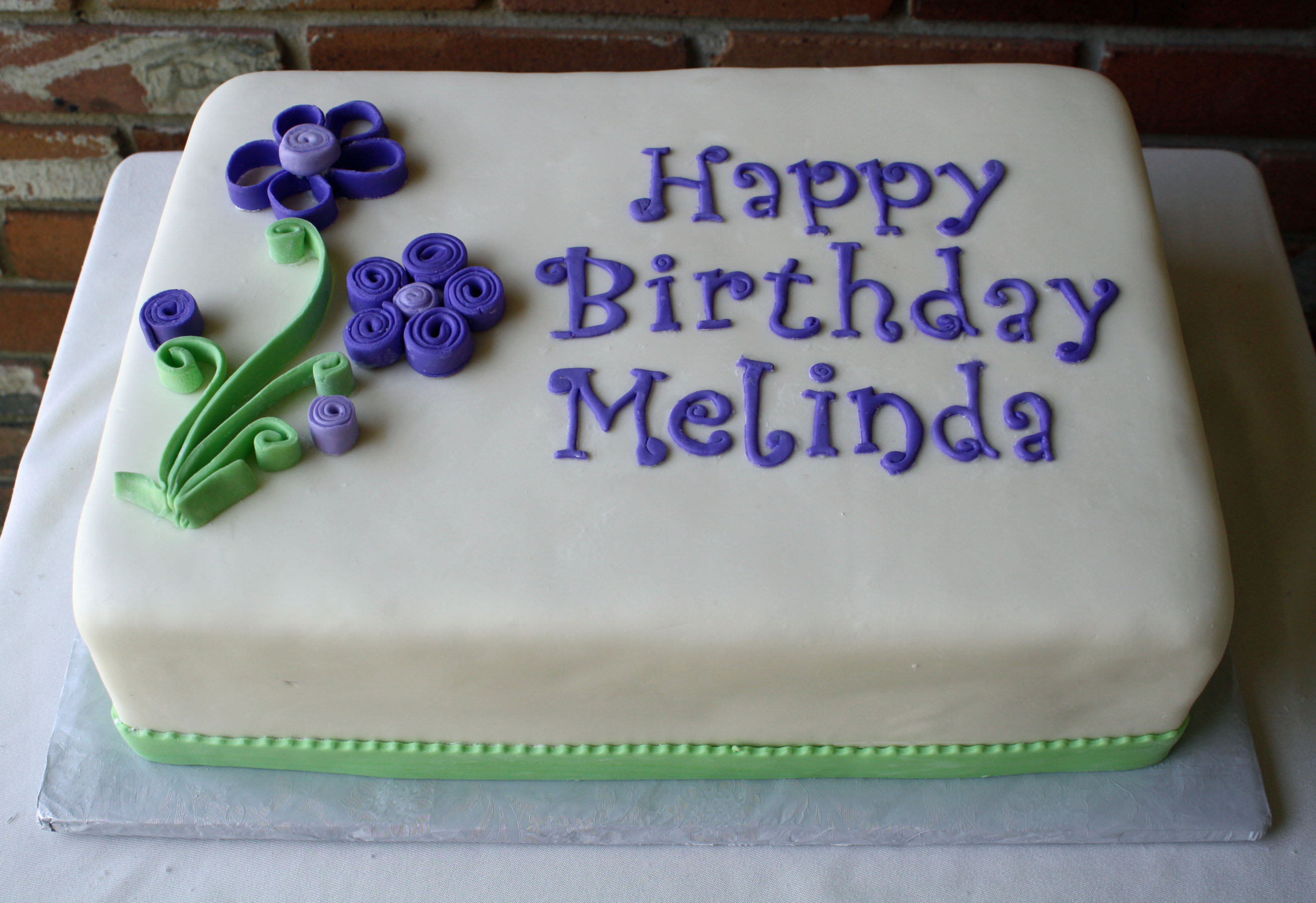 happy birthday melinda ; Melinda-Quilling-Purple-Flowers-Cake