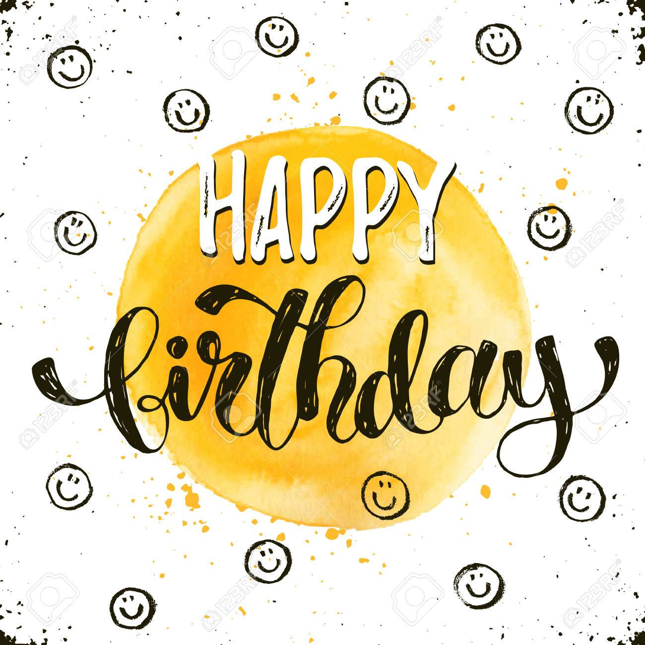 happy birthday modern ; 70920493-happy-birthday-text-hand-drawn-with-dry-brush-bright-and-modern-ink-lettering-for-greeting-cards-des