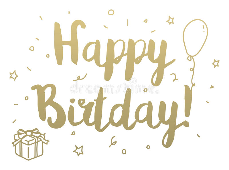 happy birthday modern ; happy-birthday-greeting-card-modern-calligraphy-hand-drawn-elements-isolated-typographical-concept-typographic-design-66085020