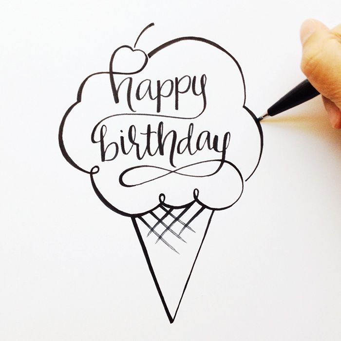 happy birthday mom drawings ; birthday-quotes-hand-lettered-happy-birthday-sketch