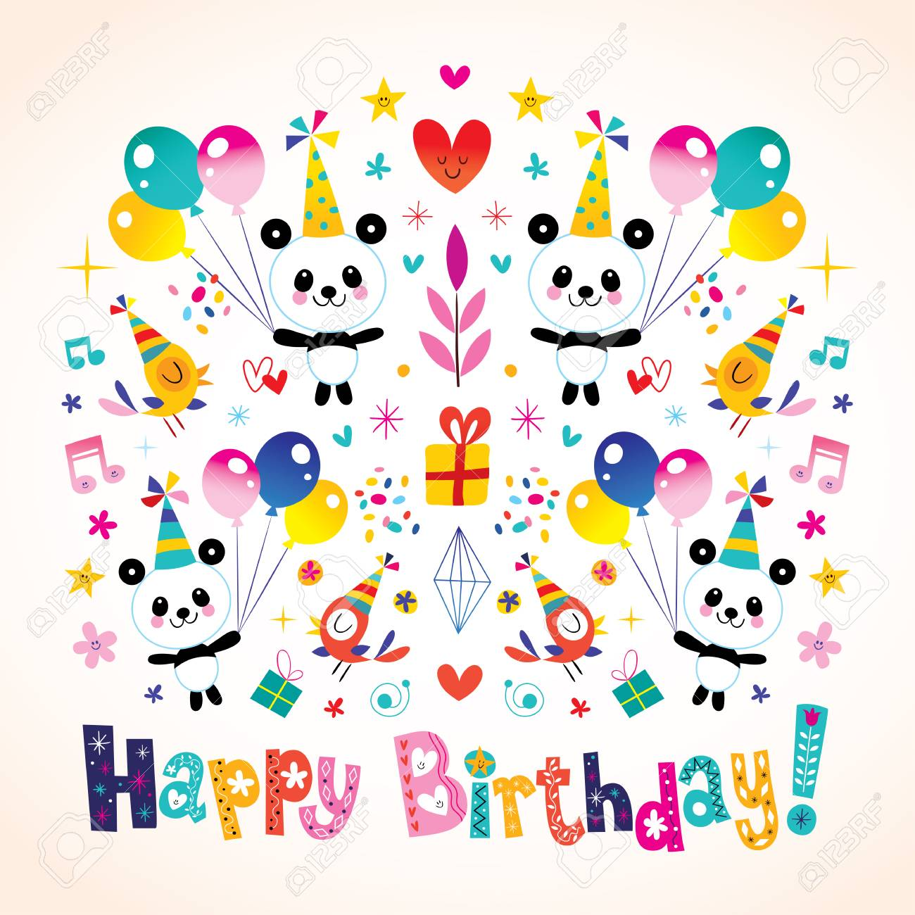 happy birthday panda clipart ; 76878557-happy-birthday-greeting-card-with-cute-panda-bears