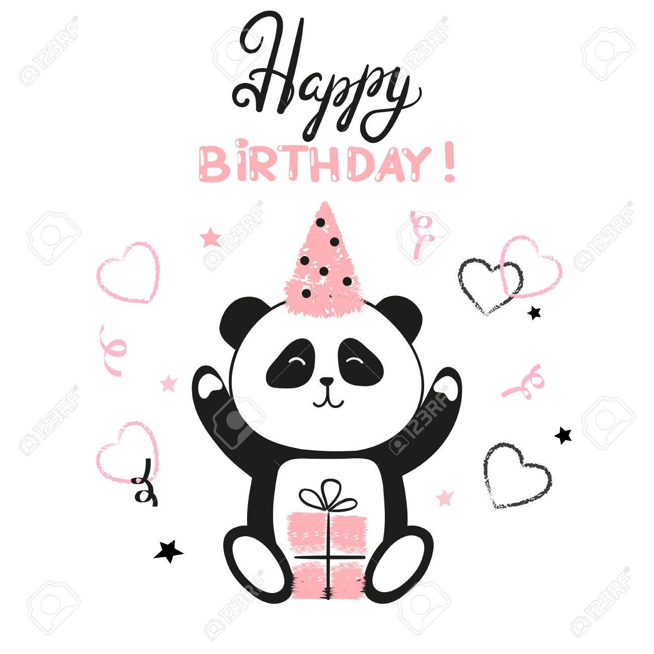 happy birthday panda clipart ; 78624403-happy-birthday-card-with-cute-panda-bear-vector-illustration-