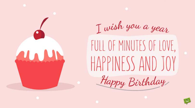 happy birthday phrases ; Cute-birthday-wish-on-card-with-cup-cake-and-pink-background-1