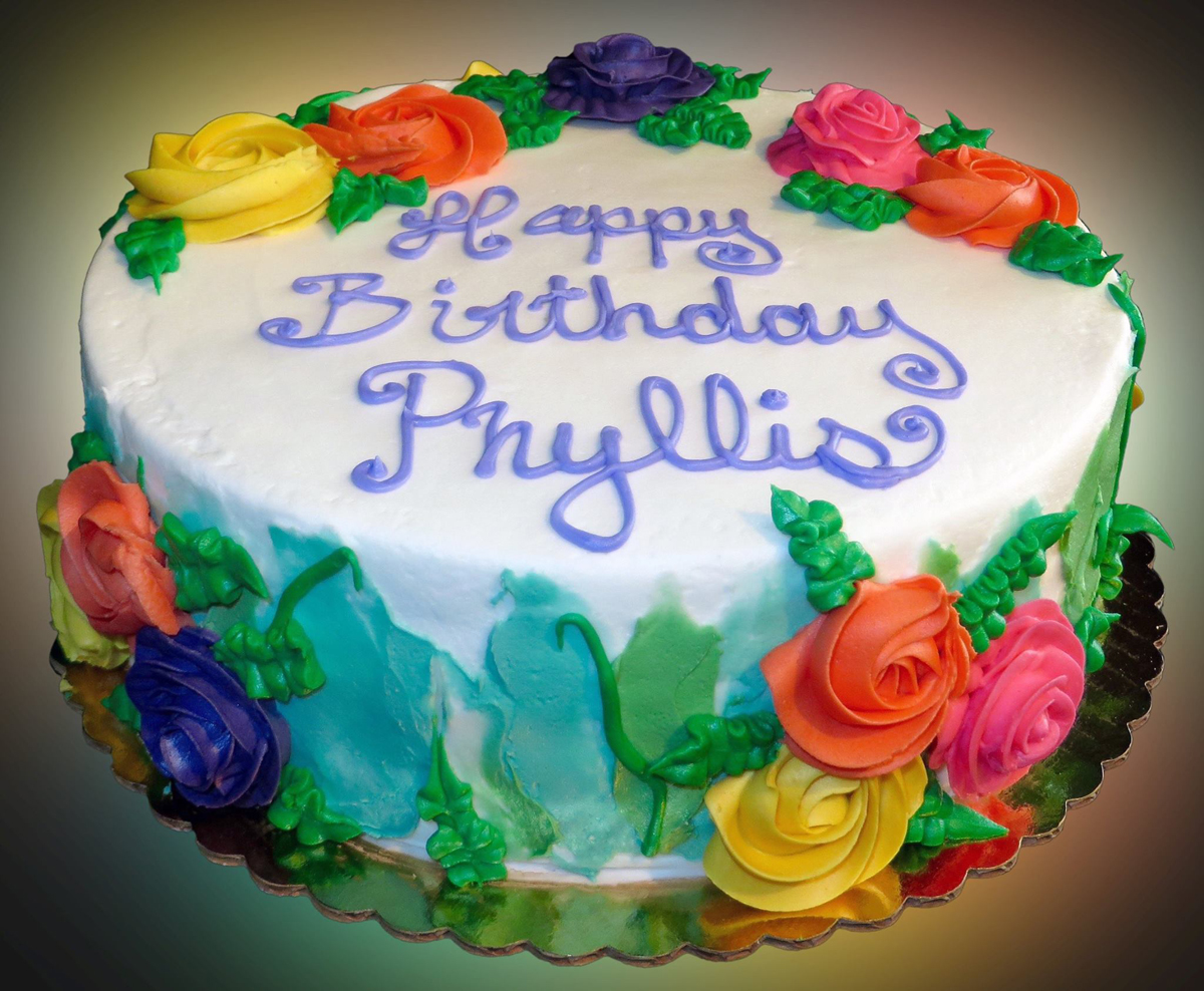 happy birthday phyllis ; birthday-cake-with-bright-flowers