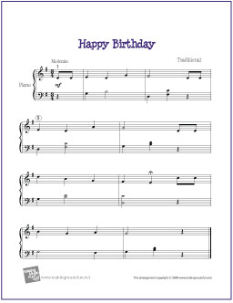 happy birthday piano arrangement ; happy-birthday-intermediate-piano