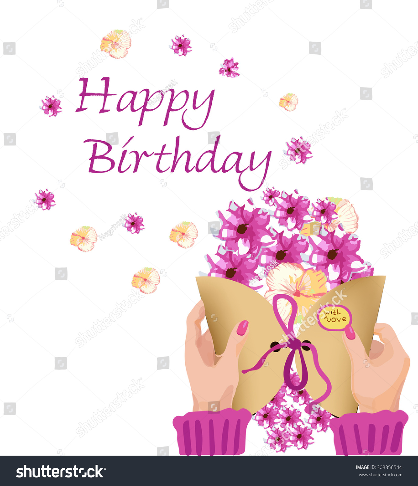 happy birthday pictures for a woman ; stock-vector-greeting-card-happy-birthday-with-women-s-hands-envelope-and-flowers-308356544