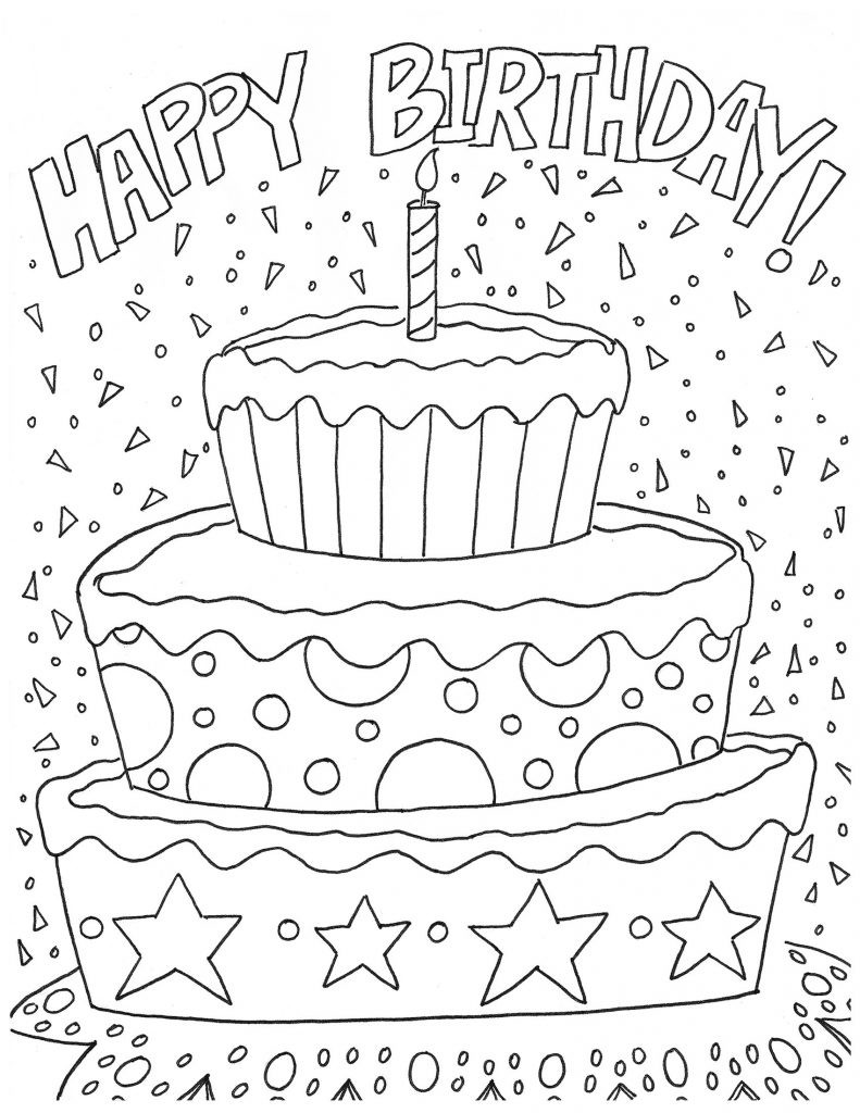 happy birthday pictures to color and print ; happy-birthday-coloring-page-2580-4-pages-for-girls