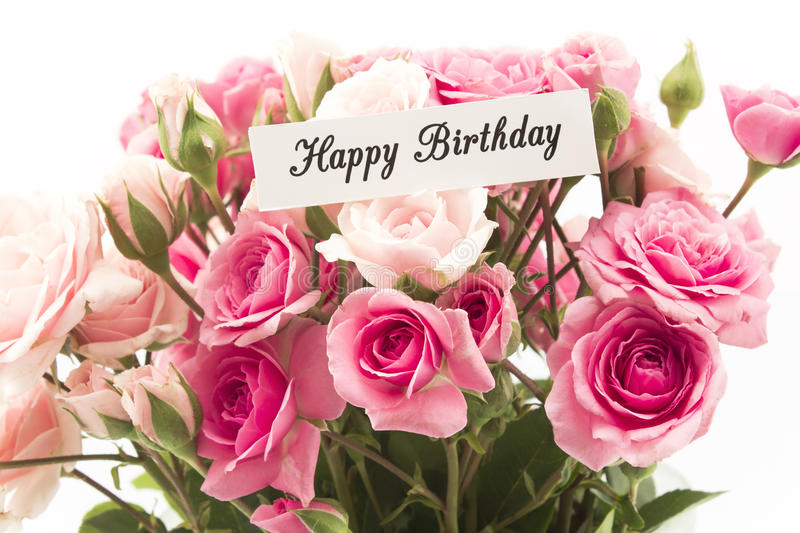happy birthday pink roses ; happy-birthday-card-bouquet-pink-roses-74572180