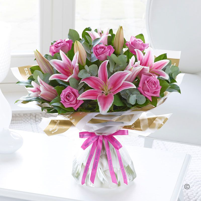 happy birthday pink roses ; happy-birthday-pink-rose-and-lily-hand-tied-730-p