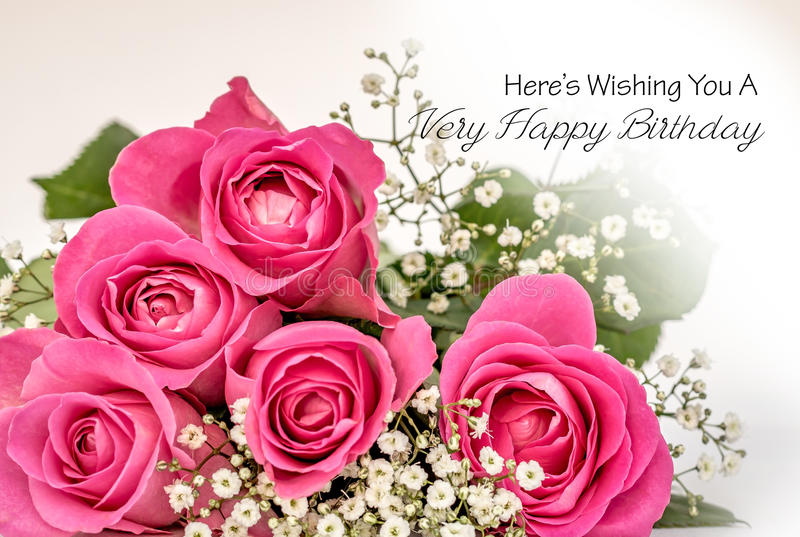 happy birthday pink roses ; roses-happy-birthday-card-greeting-small-posy-pink-gypsofilia-fowers-against-softened-white-background-inscribed-83940986