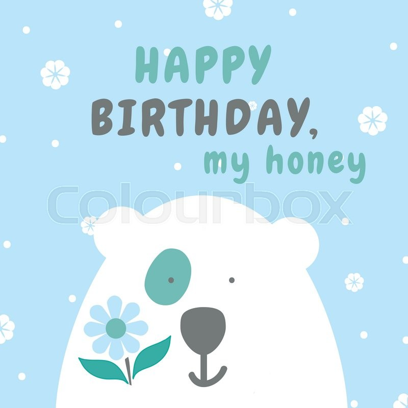 happy birthday polar bear ; 18423972-sweet-and-cute-greeting-card-happy-birthday-card-with-vector-flat-cartoon-illustration-of-polar-bear-on-north-pole-flat-character-design