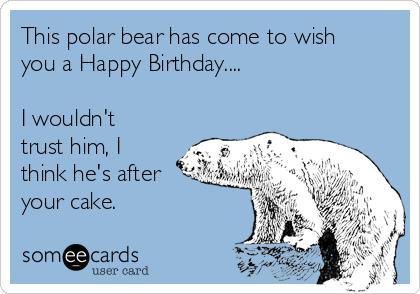 happy birthday polar bear ; this-polar-bear-has-come-to-wish-you-a-happy-birthday-i-wouldnt-trust-him-i-think-hes-after-your-cake-a34cd