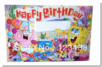 happy birthday posters for kids ; happy-kids-birthday-party-supplies-party-supplies-yellow-spongebob-posters-wallpaper-decorated-venue-children-room-decoration_2107223